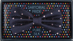 Navy/Pink - Polka Dot Square Weave Silk Bow Tie