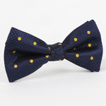 Navy/Gold - Polka Dot Single Dimple Silk Bow Tie