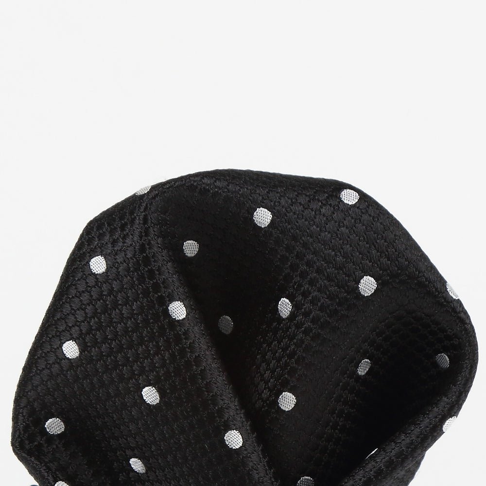 Black/White - Polka Dot Square Weave Silk Pocket Square