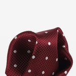 Burg/White - Polka Dot Square Weave Silk Pocket Square