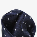 Navy/White - Polka Dot Square Weave Silk Pocket Square