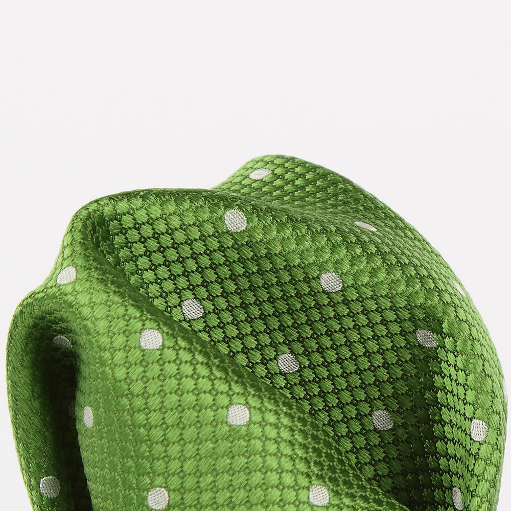 Green/White - Polka Dot Square Weave Silk Pocket Square