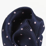 Navy/Pink - Polka Dot Square Weave Silk Pocket Square