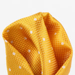 Gold/White - Polka Dot Square Weave Silk Pocket Square