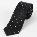 Black/White - Polka Dot Square Weave Silk Tie