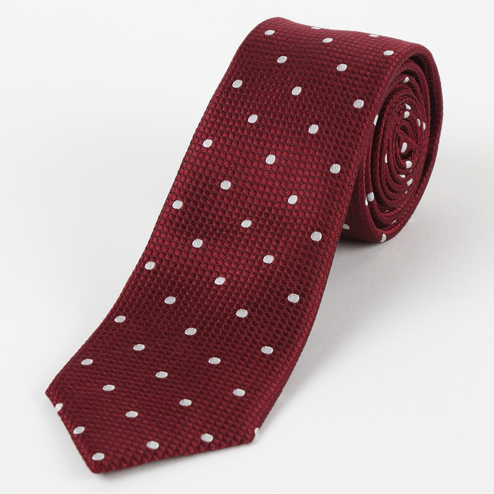 Burg/White - Polka Dot Square Weave Silk Tie