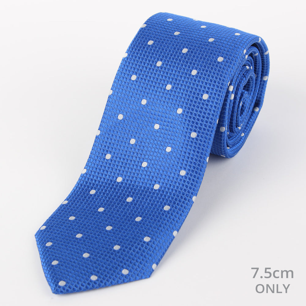 Royal/White - Polka Dot Square Weave Silk Tie