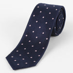 Navy/Pink - Polka Dot Square Weave Silk Tie