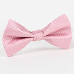 Pink - Square Weave Single Dimple Silk Bow Tie