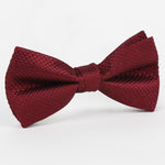 Burgundy - Square Weave Single Dimple Silk Bow Tie