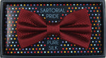 Burgundy - Square Weave Silk Bow Tie