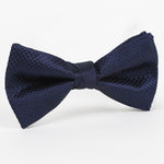 Navy - Square Weave Single Dimple Silk Bow Tie