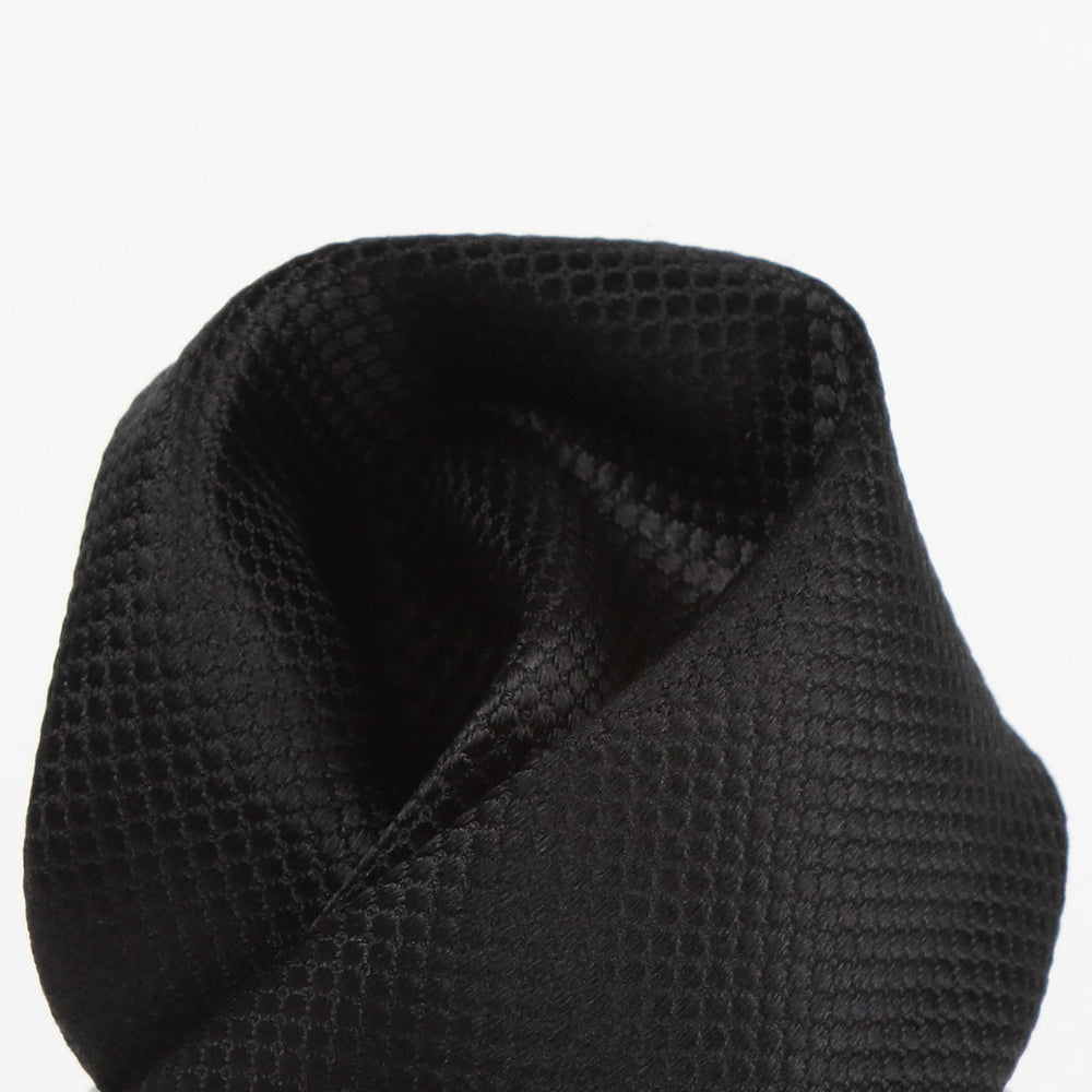 Black - Square Weave Silk Pocket Square