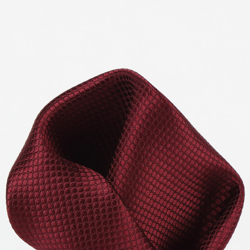 Burgundy - Square Weave Silk Pocket Square