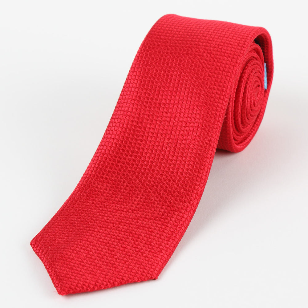 Red - Square Weave Silk Tie