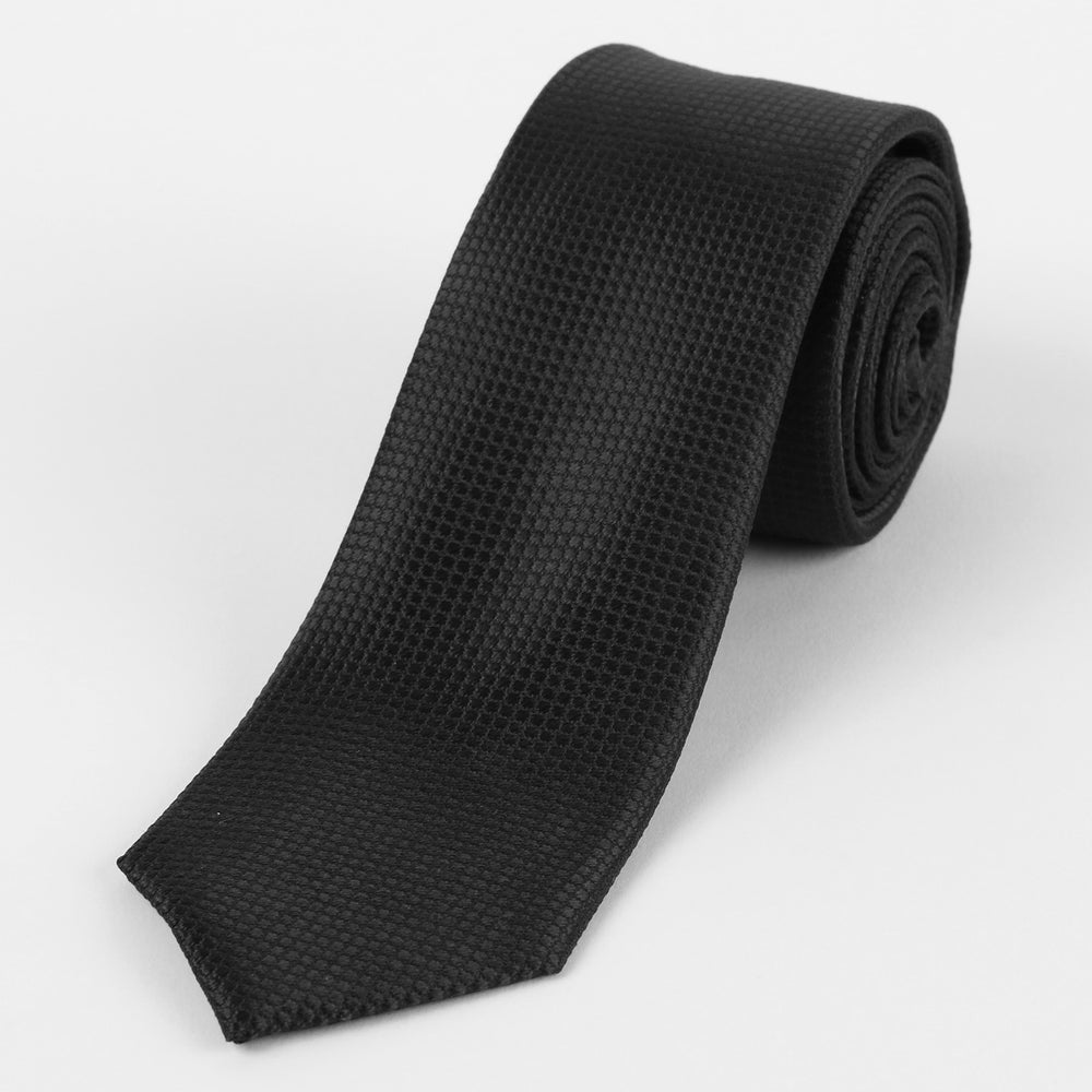 Black - Square Weave Silk Tie
