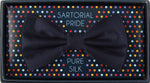 Navy - Satin Weave Silk Bow Tie