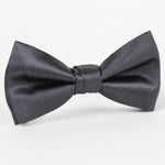 Charcoal - Satin Weave Single Dimple Silk Bow Tie