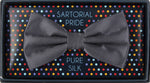 Charcoal - Satin Weave Silk Bow Tie