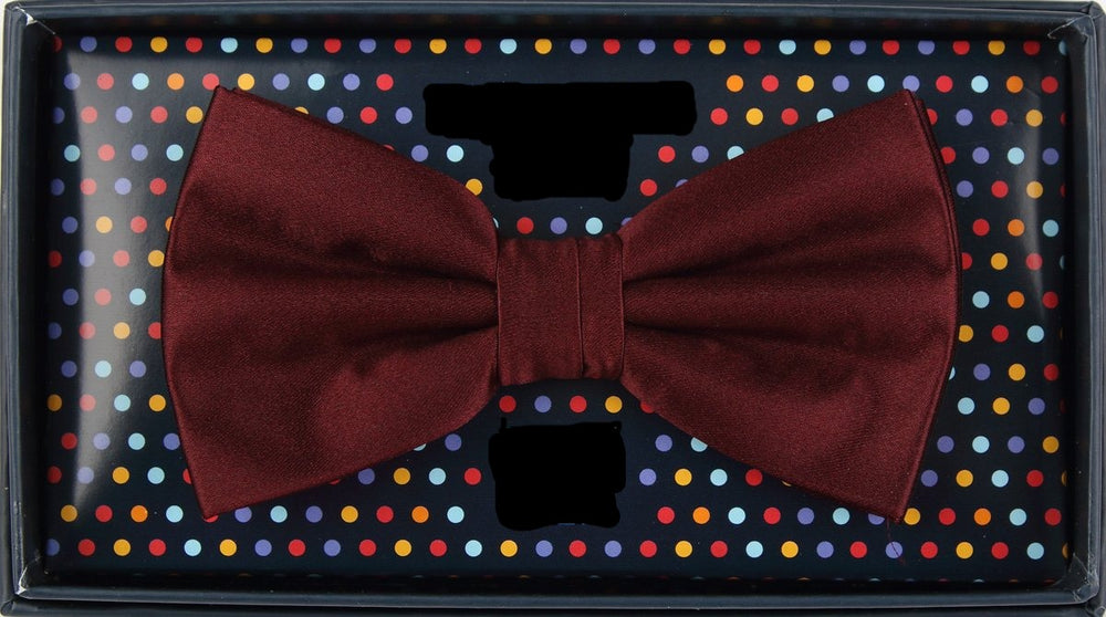 Burgundy - Satin Weave Luxury Microfiber Bow Tie