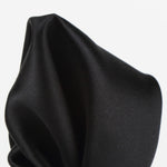 Black - Satin Weave Silk Pocket Square
