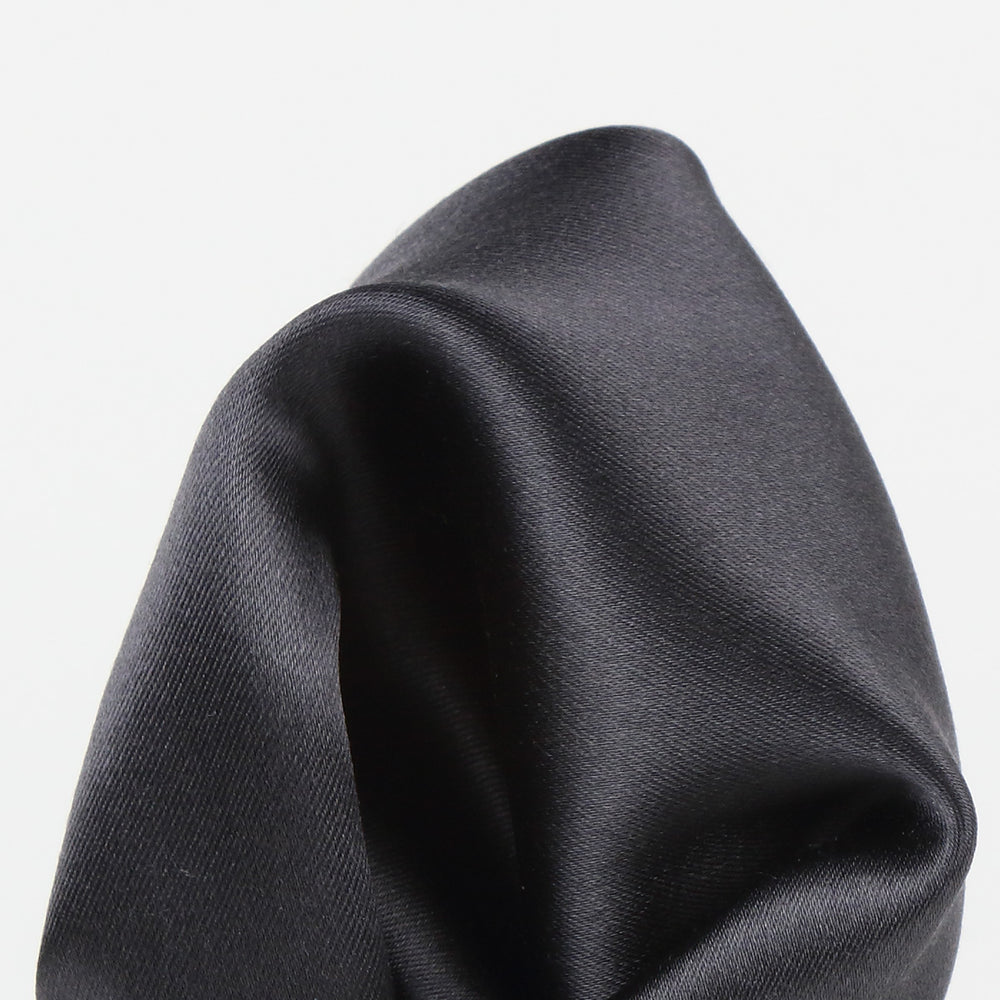 Charcoal - Satin Weave Silk Pocket Square