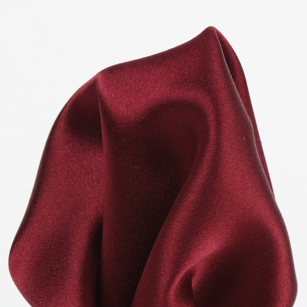 Burgundy - Satin Weave Silk Pocket Square