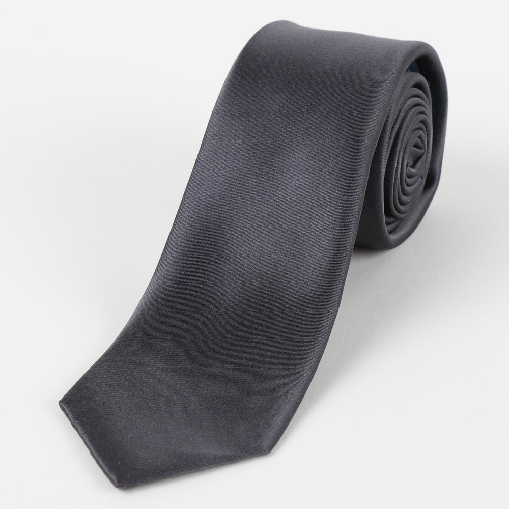 Charcoal - Satin Weave Silk Tie