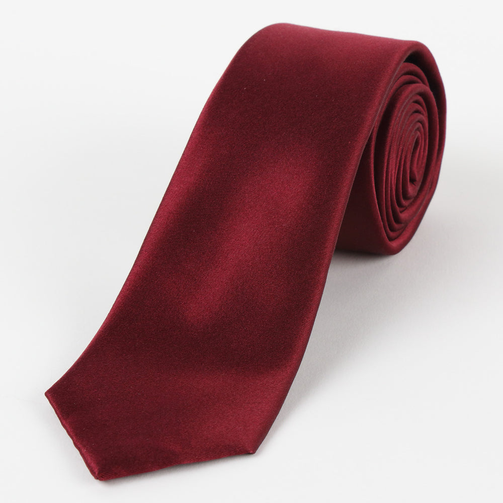 Burgundy - Satin Weave Silk Tie