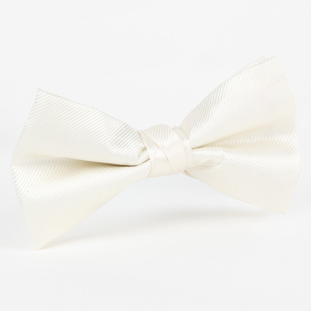 Off White - Twill Weave Single Dimple Silk Bow Tie