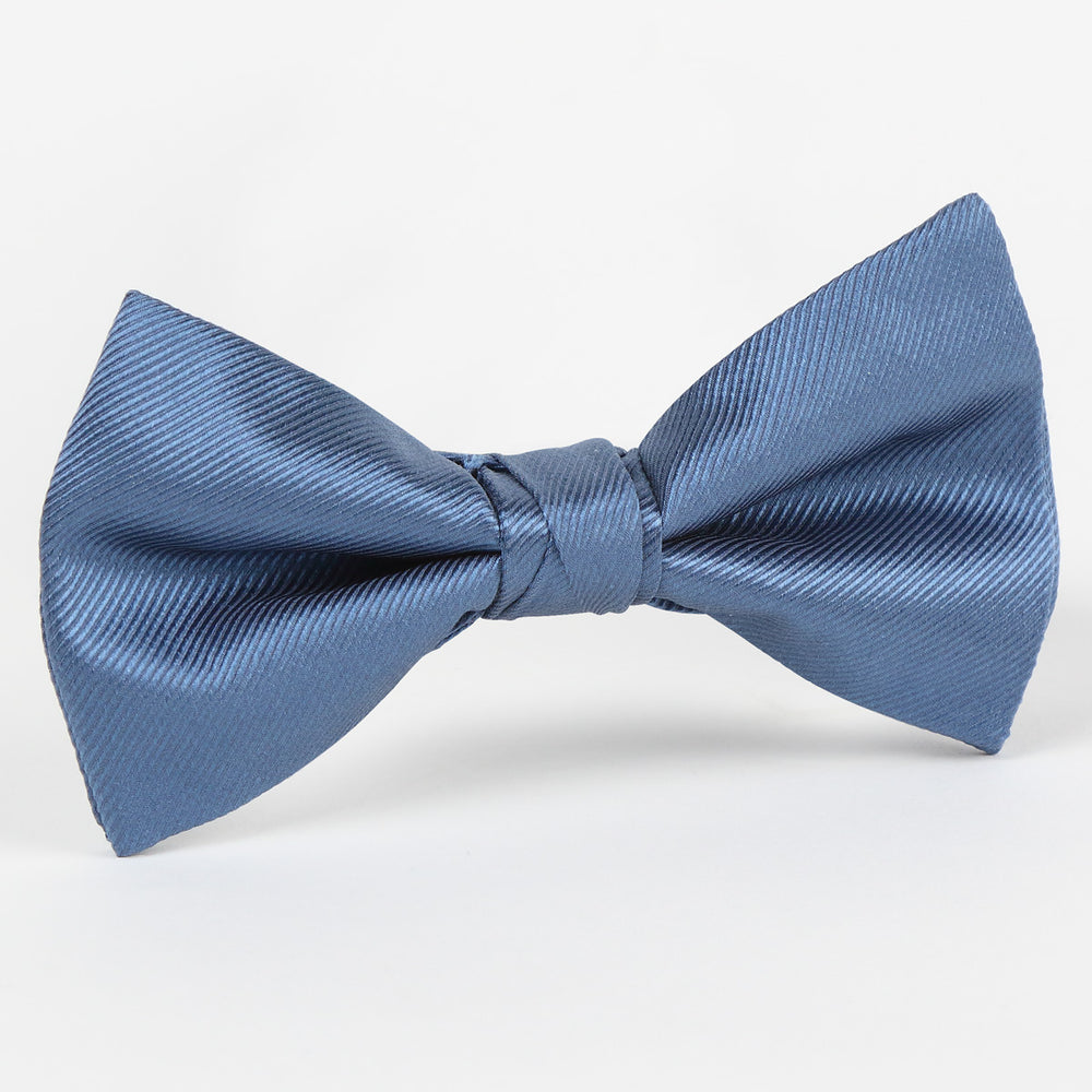 Slate - Twill Weave Single Dimple Silk Bow Tie