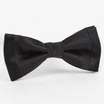 Black Luxury Twill Weave/Satin Edge trim Silk SLIM Bow Tie