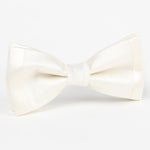 Off White Luxury Twill Weave/Satin Edge trim Silk SLIM Bow Tie