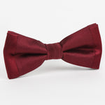 Burgundy Luxury Twill Weave/Satin Edge trim Silk SLIM Bow Tie