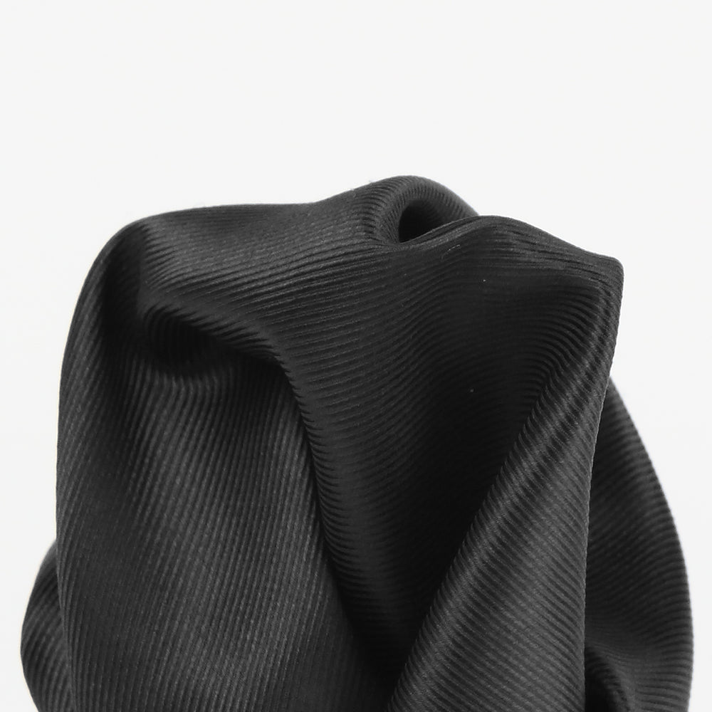 Black - Twill Weave Silk Pocket Square
