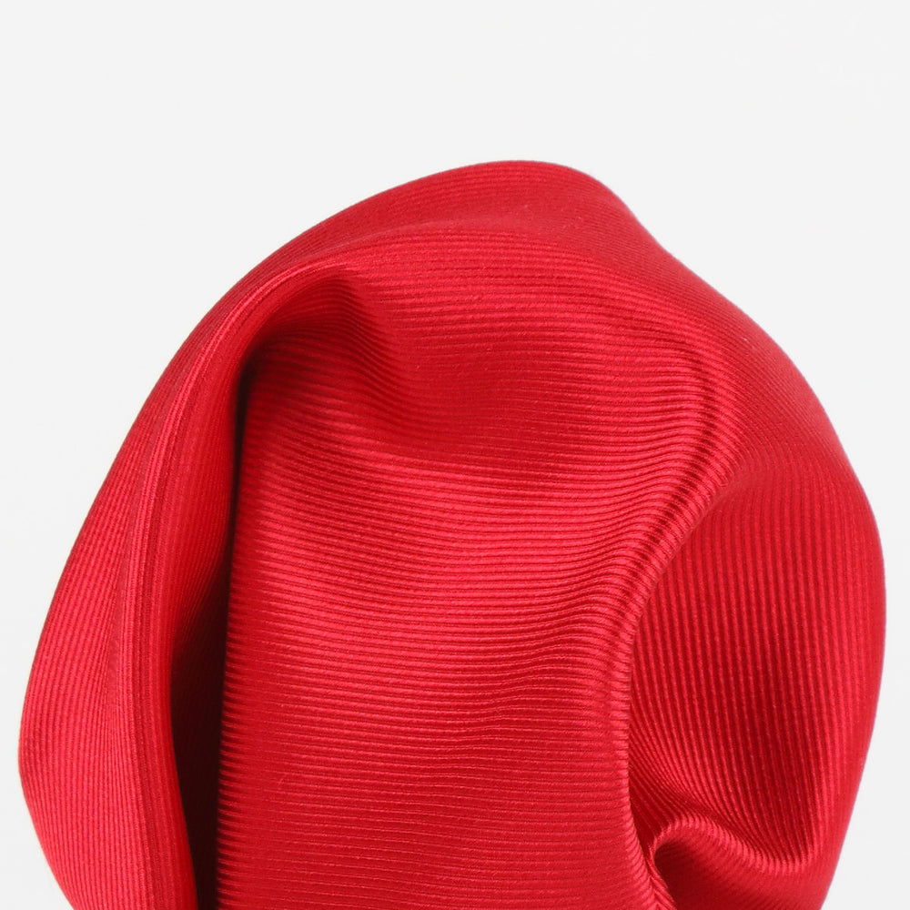 Red - Twill Weave Silk Pocket Square