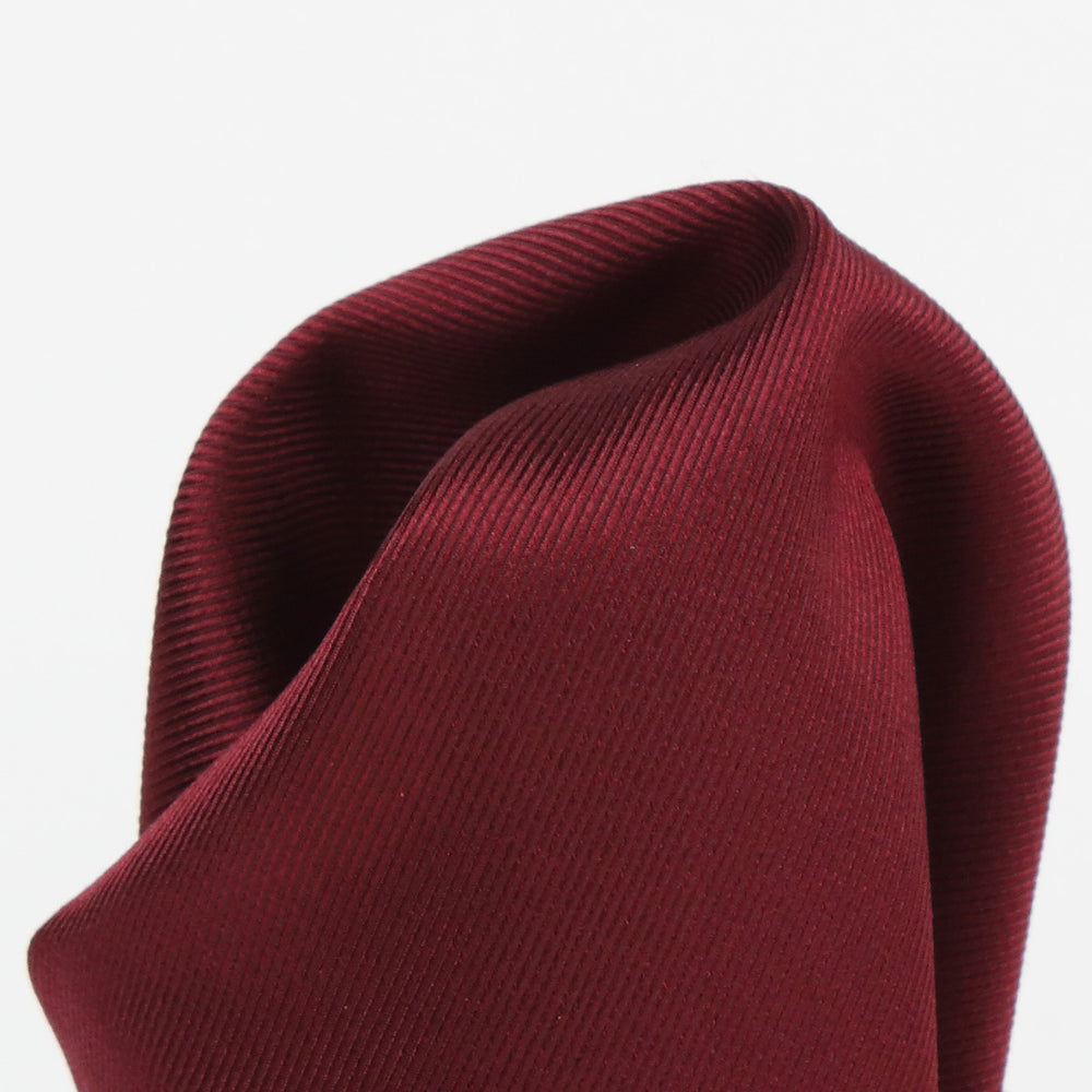 Burgundy - Twill Weave Silk Pocket Square