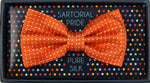 Orange/White - Spotted Textured Weave Silk Bow Tie