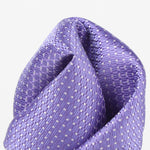 Purple/White - Spotted Textured Weave Silk Pocket Square