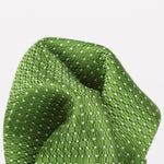 Green/White - Spotted Textured Weave Silk Pocket Square
