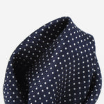 Navy/White - Spotted Textured Weave Silk Pocket Square