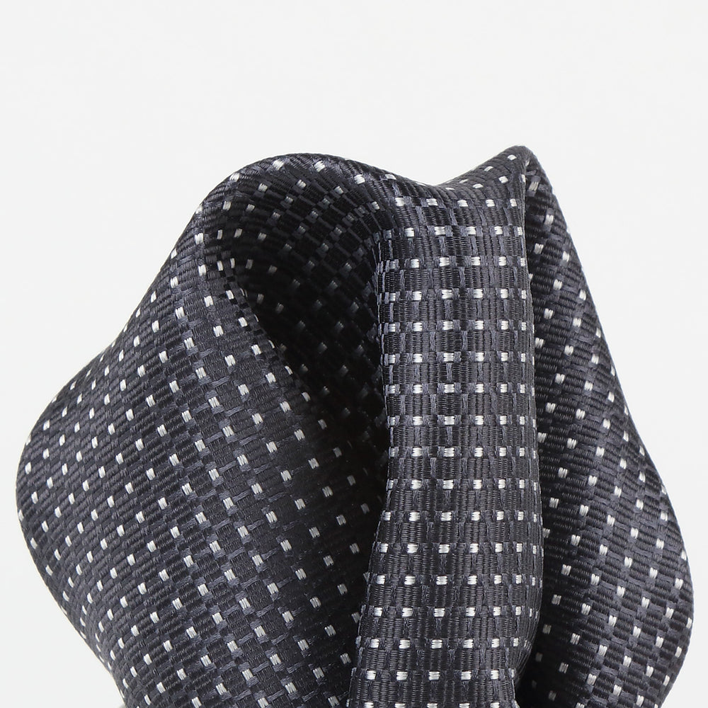 Char/White - Spotted Textured Weave Silk Pocket Square