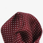 Burg/White - Spotted Textured Weave Silk Pocket Square