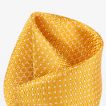 Gold/White - Spotted Textured Weave Silk Pocket Square