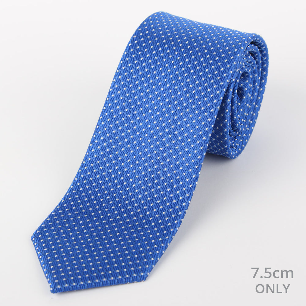 Royal/White - Spotted Textured Weave Silk Tie