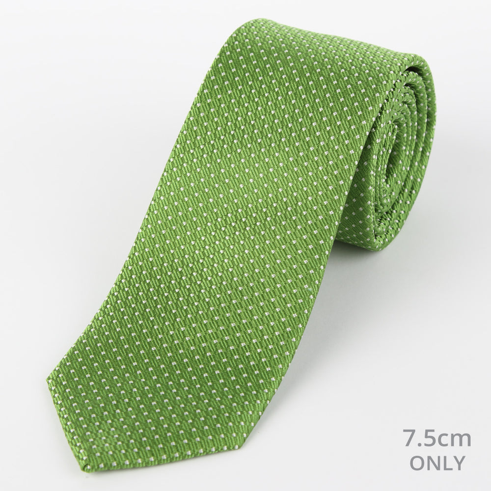 Green/White - Spotted Textured Weave Silk Tie