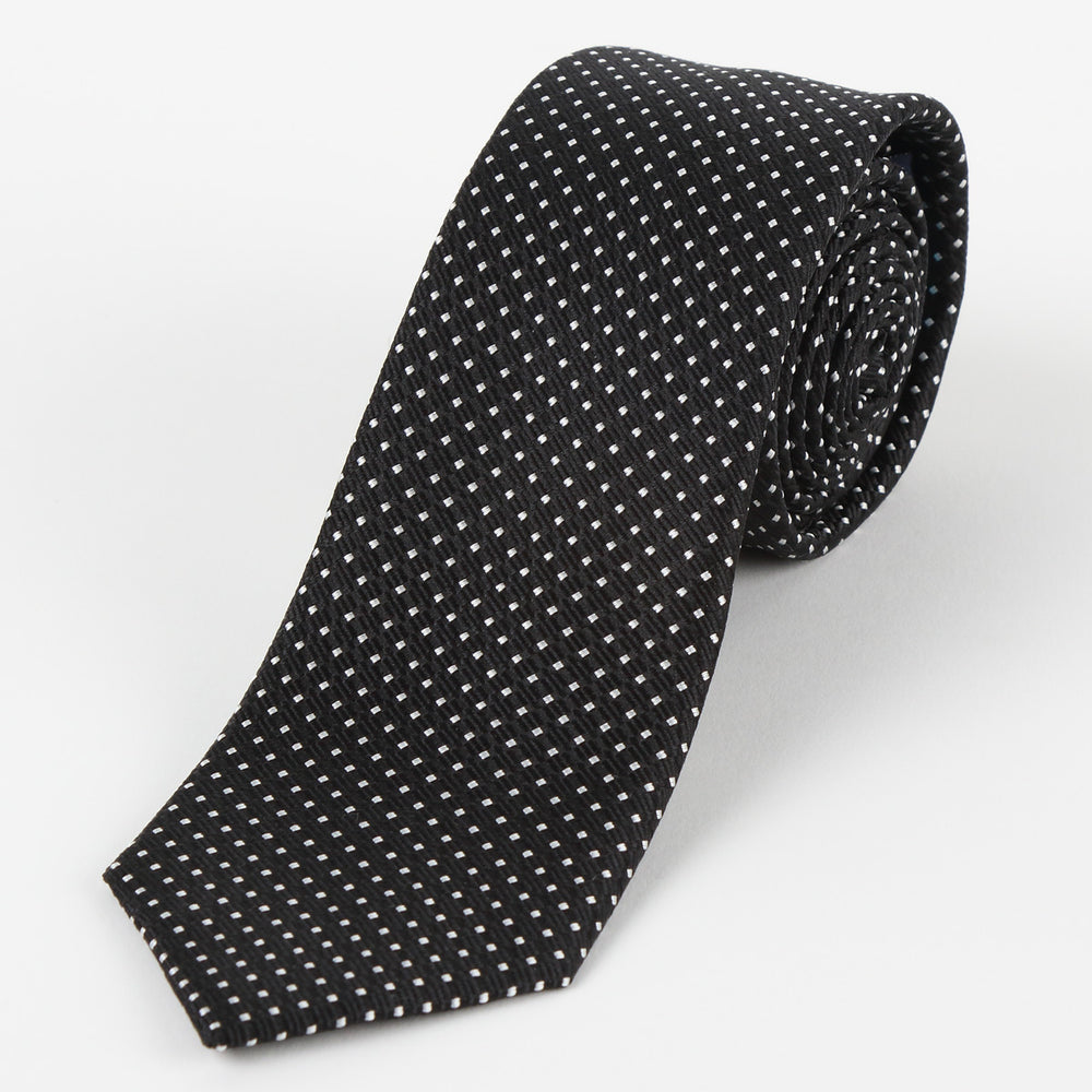 Black/White - Spotted Textured Weave Silk Tie