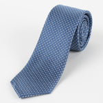 Slate/White - Spotted Textured Weave Silk Tie