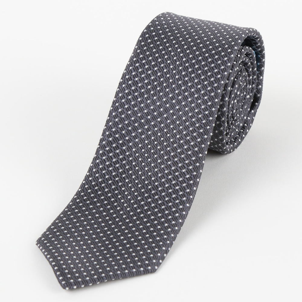 Char/White - Spotted Textured Weave Silk Tie