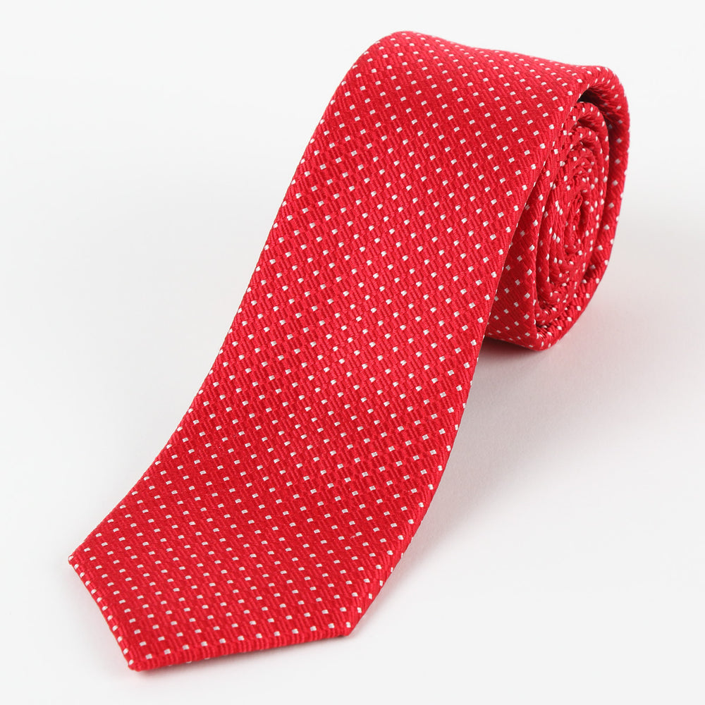 Red/White - Spotted Textured Weave Silk Tie